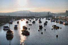 Harbour in evening sunlight (robin denton) Tags: hdr scarborough northyorkshire yorkshire harbour boats yachts town seaside coast sea