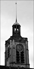 17 - Paris - Descendre le boulevard Magenta avec la nuit - Eglise Saint-Laurent,Clocher et horloge (melina1965) Tags: îledefrance paris février february 2017 10earrondissement 75010 nikon d80 noiretblanc blackandwhite bw façade façades horloge horloges clock clocks clocher clochers belltower belltowers churchtower churchtowers ciel sky église églises church churches