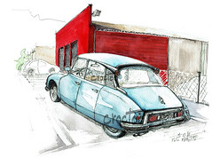 A Melle, la DS (Croctoo) Tags: croctoo croquis croctoofr aquarelle watercolor ds citroen auto garage poitou poitoucharentes melle