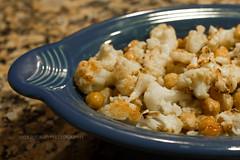 Roasted Cauliflower and Chickpeas (dmoranphotog) Tags: fiestaware cauliflower chickpeas garbanzobeans
