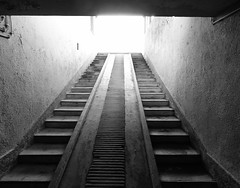 Exit Pathology/Mortuary, Sachsenhausen (Miranda Ruiter) Tags: berlin concentrationcamp warmemorial warvictims wo2 photography blackandwhite oranienburg pathology staircase mortuary sachsenhausen exit