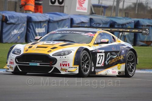The TF Sport Aston Martin V12 Vantage GT3 of Andrew Jarman and Jody Fannin in British GT Racing at Donington, September 2015