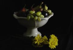 Quiet and Still (Linda Kosidlo) Tags: flowers stilllife blackbackground fruit bowl softfocus lowkey odc
