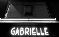 Paris 2015 (Hanoi1933) Tags: blackandwhite bw white black paris france caf bar night restaurant neon noiretblanc police font lettering brasserie neons parigi typographie 2015 graphique   parisstreetart   pariswallart