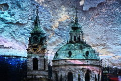 Double-faced (Tanya.Kirilova) Tags: art church wall architecture graffiti cityscape prague doubleexposure cyan baroque urbanphotography baroquechurch saintnicolaschurch nikond7100