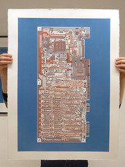 Commodore 64 - Circuit portrait viii screen print (Euphy) Tags: old blue portrait orange art water computer giant paper print grey big screenprint acrylic hand board fine gray silk machine somerset screen retro 64 80s silkscreen computing commodore satin pcb 1980s circuit c64 circuitboard yash based pulled aesthetic fr4 terakura