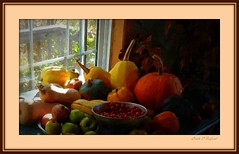 Full table: gourds, pumpkins, apples, tomatoes (edenseekr) Tags: autumn gourds vegetables tomatoes harvest apples windowsill pumkin photopainting digitallypainted stilllifecomposition