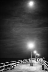 Moon Over Kure Beach (keith kendall) Tags: white black northcarolina kurebeachpier sigma35f14