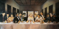 Hollywood Supper (Мaistora) Tags: painting replica parody kitsch profane blasphemy sacrilege supper biblical leonardo scene jesus disciples hollywood stars celebrities actors marilyn monroe food beverage consumer brands pop culture