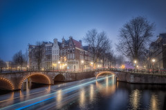 Amsterdam (angheloflores) Tags: amsterdam canal houses bridge lights colors reflections travel architecture misty night fog street arquitectura casas reflejos clouds sky nubes colores netherlands niebla holanda gracht keizersgracht urban explore cityscape