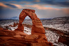 Freestanding--- Delicate Arch Sunset in Winter (Ping...) Tags: delicatearch archesnationalpark arch nationalpark coloradoplateau mantilasal lasal rockformation redrocks desert erosion geology iconic landmark scenic snowcapped utah moab southwestusa nikon d810 nikonafsnikkor2470mmf28ged sunset winter snow mountain freestanding landscape