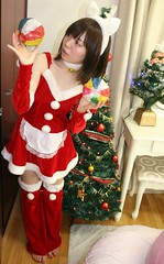 Do Discover Dandy Decorations! (emotiroi auranaut) Tags: girl woman lady cat bunny rabbit christmas pretty cute adorable beauty beautiful kamifusen red green white suit feet toes barefoot foot tree trees xmas ears ornament ornaments decoration decorations lovely