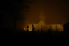 foggy church. (Lee1885) Tags: trinityjerseychannelislandsfogmist church graveyard haunting gravestones dark night