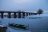 Brilliant shot on wooden bridge and boat (malioli) Tags: ice cold coldness winter blue korana tree river water sky croatia europe karlovac hrvatska canon
