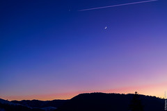 Just the sky at sunset in the Carpathians (UkrainianGentleman) Tags: lune moon carpathianmountains ukraine ukrainiancarpathians outdoors colors colour colorful carpathians mountains закат небо карпаты украина верховина звезда месяц луна горы атмосфера красота пейзаж панорама panorama landscape sky star blue silhouette contrejour contrast shootingstar nature winter atmospheric peaceful night plane sunset