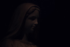 Mystic Shadows (aquigabo!) Tags: montreal oratory statue sculpture stjoseph virgin canon eos aquigabo dsrl rebel t5i 700d 250mm monochrome light shadows mystic dark composition darkness portrait spirituality