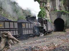 Loco C2-10  |  Shibanxi, China  |  2011 (keithwilde152) Tags: c210 shibanxi mifengyan jiayang mines railway sichuan china 2011 tracks tunnel coal wagons steam locomotives rocks landscape summer sun
