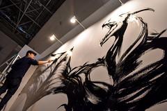 Giant Dragon Wall Mural in Progress (Design Festa) Tags: tokyo japan japanese art design japaneseart japanesedesign livepainting artfestival artevent artfair artist japaneseartist designfesta designfestavol44 drawing illustration painting designer japanesedesigner mural wallmural dragon blackandwhite mnochrom monochrome