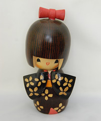 Kokeshi Doll (Tamara Tarasiewicz) Tags: old japanese japan carved wooden wood kokeshi doll bow handmade style robe