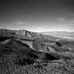 Lookout at Sundown (Scott Holcomb) Tags: fathercrowleyvistapoint deathvalleynationalpark california kiev60 мир26в3545mmlens hoyahmc82mmyk2filter ilforddelta100film 120film 6x6 mediumformat epsonperfectionv600 photoshopdigitalization
