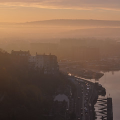 UK - Bristol - View from Clifton Suspension Bridge (Harshil.Shah) Tags: uk morning bridge england mist west sunrise bristol glow suspension britain terrace south united great kingdom gb georgian clifton harbourside brunel hotwells