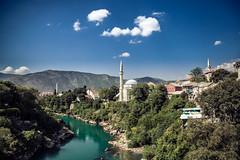 Mostar, Bosnia and Herzegovina (xDiscobobx) Tags: bridge windows abstract colour church canon landscape religious cross minaret mostar bosnia muslim religion diving mosque herzegovina bosniaandherzegovina