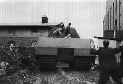 """The first departure of the super-heavy tank Panzerkampfwagen VIII """"Maus"""" outside the Assembly shop at the Alkett plant. Spandau. Berlin. The Third Reich. 1943."""