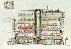Korean commercial building (velt.mathieu) Tags: building architecture pen drawing korea croquis 한국