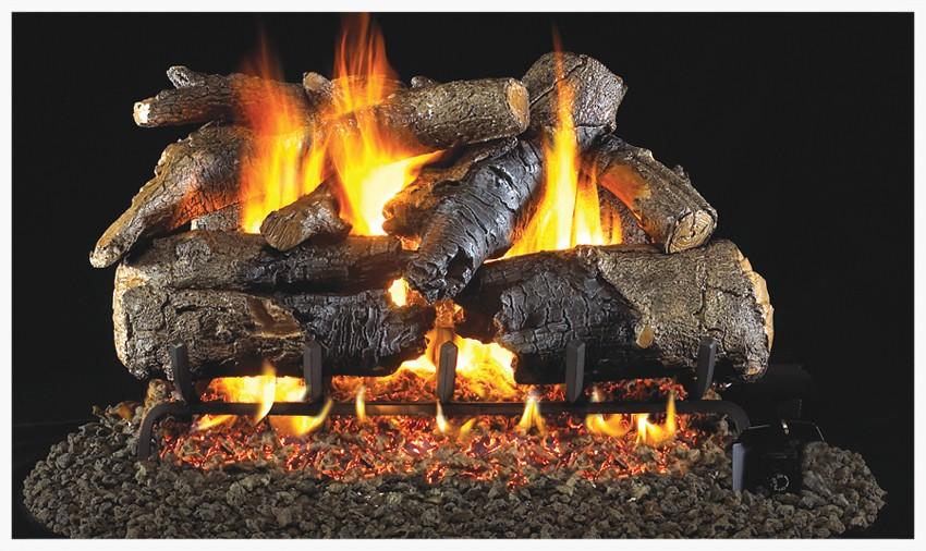 Peterson Charred American Oak gas log set