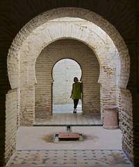 Sue and Moorish Arches, Alcazar de Jerez, Spain (Peter Cook UK) Tags: de spain arch arches moorish alcazar moors jerez horsehoe