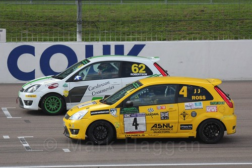 Scott Robertson and James JJ Ross in Fiesta Racing at Rockingham, Sept 2015
