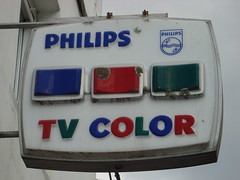 Vintage Philips Color TV Advertising Sign (MarkAmsterdam) Tags: auto life park door bridge music dog sun flower tree bird beach church window nature beer caf car rain amsterdam bike sign shop bar train cat river hotel cow alley track floor surfer cab taxi meadow police tram goat streetlife supermarket canals lane muziek sail knocker skater letterbox calf plein surroundings fiets sloot straat trimmer 2015 steeg brommer dayly buildins