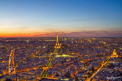 Paris at Night from Montparnasse (mpelleymounter) Tags: paris twilight cityscape eiffeltower montparnasse parisatnight eiffeltoweratnight sunsetoverparis
