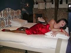 Invitation (Paula Satijn) Tags: red hot sexy stockings girl bed pumps legs silk tgirl transvestite heels slip satin gurl silky nightgown nightdress nightie