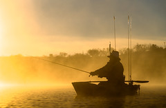 Fishing Santa (txwhitacre - out, but will be back later.) Tags: santa morning mist water silhouette sunrise fishing freezing steam sonya7rii