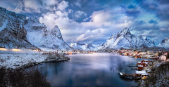 Dreaming of Reine (hpd-fotografy) Tags: arctic lofoten moskenes norway reine scandinavia bluehour clouds cold dramatic fjord ice island landscape light mountain north reflection sky snow water weather winter