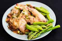 Chicken wings on fried bread with sugar snap peas and asparagus (garydlum) Tags: chicken belconnen bread redchillies springonion chillies chickenwings sugarsnappeas toast canberra jalapeñopeppers asparagus
