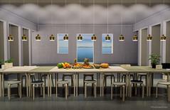 Modernes Abendmahl - Modern evening meal (ExDreamFoto) Tags: abendmahl exdreamfoto kulisse apostel obst blau grau immcologne tisch stuhl