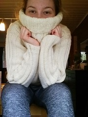 Sexy girl in wool turtleneck (Mytwist) Tags: chunky cozy offwhite white cabled fashion wool style vouge sweater jumper vintage craft handmade knitted retro love passion turtleneck knitwear polo cable