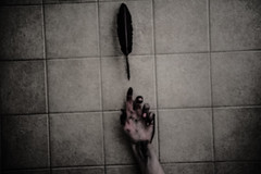 poor girl (Taran W) Tags: black feather quill pen ink hand portrait light shadows