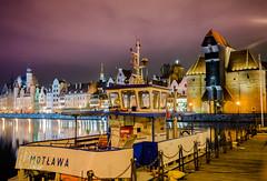 DSC02525-3 (Kunioski) Tags: gdansk lights longexposure night oldcrane oldtown purple river water