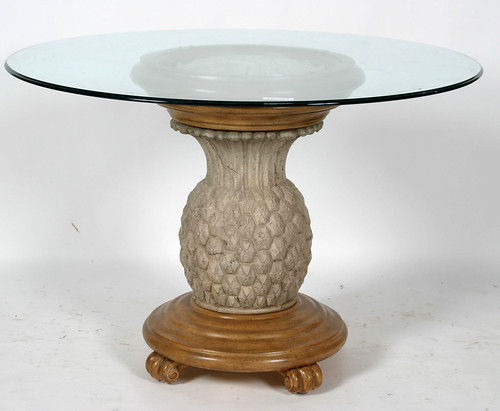 Contemporary Round Glass Top Pineapple Base Dining Table ($231.00)