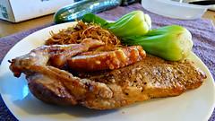 Cooking in the air fryer/oven (Sandy Austin) Tags: panasoniclumixdmcfz70 sandyaustin porkchops airfryer airoven bokchoy noodles massey westauckland auckland northisland newzealand