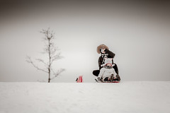 _MG_9029 (michaelinvan) Tags: winter snow hill family girl mother white simle canon 5d2 135mm f2 portrait foam sled tree sky