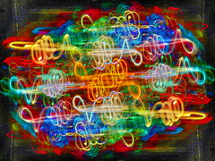 1 Color Knot (reflection below) (Robert Cowlishaw-Mertonian) Tags: mertonian robertcowlishaw colors colours abstract knots colorknot creative exporing playing color canon powershot g7x mark ii canonpowershotg7xmarkii curvy red orange blue yellow twisted hope music digitalart
