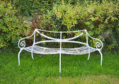 White metal bench (Tony Worrall) Tags: county uk england white green grass metal garden bench stream tour open place metallic empty seat country north visit location east made northumberland area rest ornate northern update northeast attraction emptybench metalbench welovethenorth 2015tonyworrall