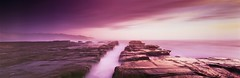 Ocean Pathway (rubberducky_me) Tags: ocean longexposure pink light panorama lighthouse mist film sunrise rocks waves fuji purple violet indigo australia velvia nsw fujifilm linhof centralcoast norahhead linhoftechnorama rockshelf linhoftechnorama617iiis