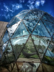 IMG_20120913_115723-2 (ThePolaroidGuy / My 3rd. Eye) Tags: blue sky sculpture reflection geometric glass museum clouds triangles silver ed experimental florida availablelight bluesky edward illusion dome reflective stpete drake dali sculptures salvadordalimuseum edwarddrake edwarddrakemfa thepolaroidguy masterphotographerfloridasarasotaavailablelight