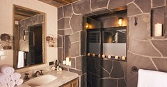 Rustic Bathroom Decorating Ideas With Simple Shower Design And Large Mirror (jhonstevans) Tags: home bathroom design trends designs latest decor ideas