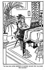 Practicing piano (katinthecupboard) Tags: vintagechildrensillustrations vintagechildrensfables aesopsfables vintagechildrensstories vintagechildrensreaders vintageschooltextbooks readers primers 1906 claraeatwood atwoodclara littlegirl piano